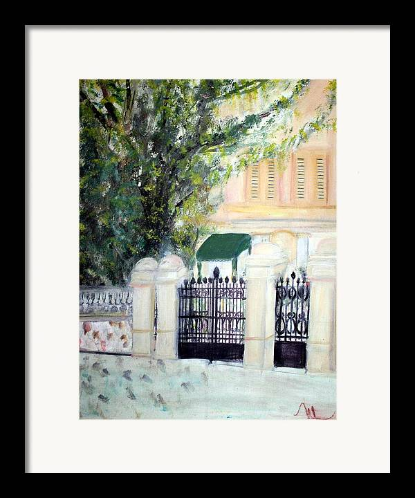 Architecture Framed Print featuring the painting The Gatehouse At Villa Mariposa by Michela Akers