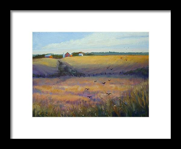 Crows Framed Print featuring the painting The Gathering by Judy Fischer Walton