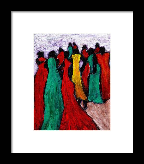 Black Art Framed Print featuring the painting The Gathering by Wayne Potrafka