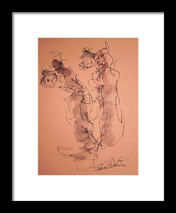 Portrait Framed Print featuring the drawing The Geisha Four by Edward Wolverton