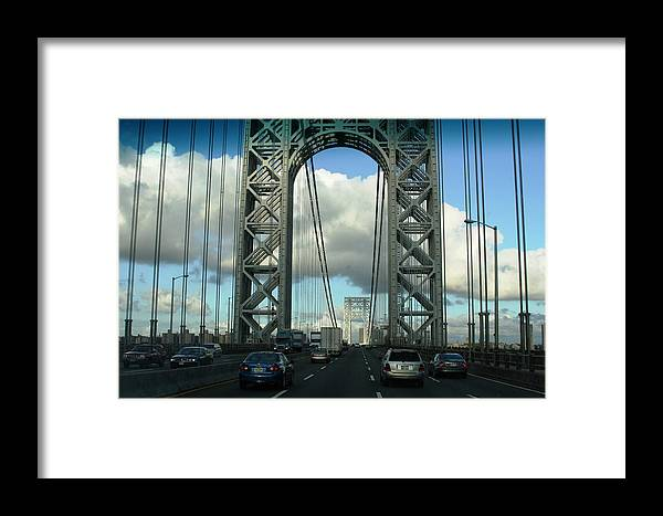Bridge Framed Print featuring the photograph The George Washington Bridge by Paul SEQUENCE Ferguson       sequence dot net