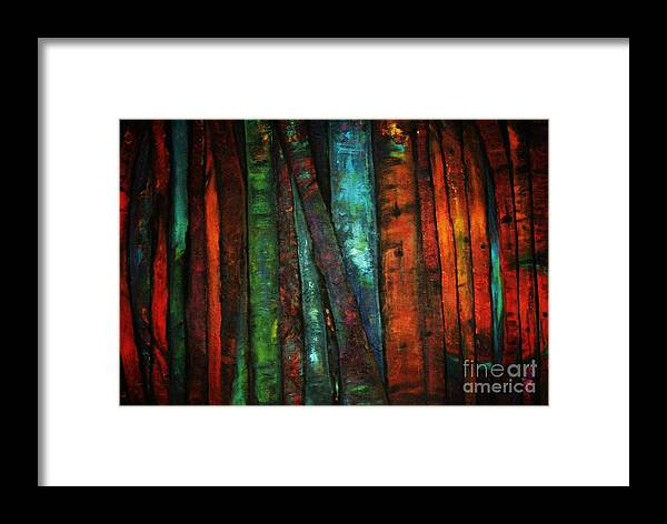 Trees Framed Print featuring the painting The Giants Two by Sidra Myers
