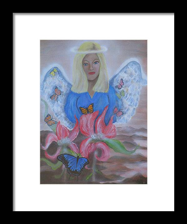 Angel Framed Print featuring the painting The Gift by Mikki Alhart