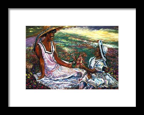 Children Framed Print featuring the painting The Gift by Tommy Winn