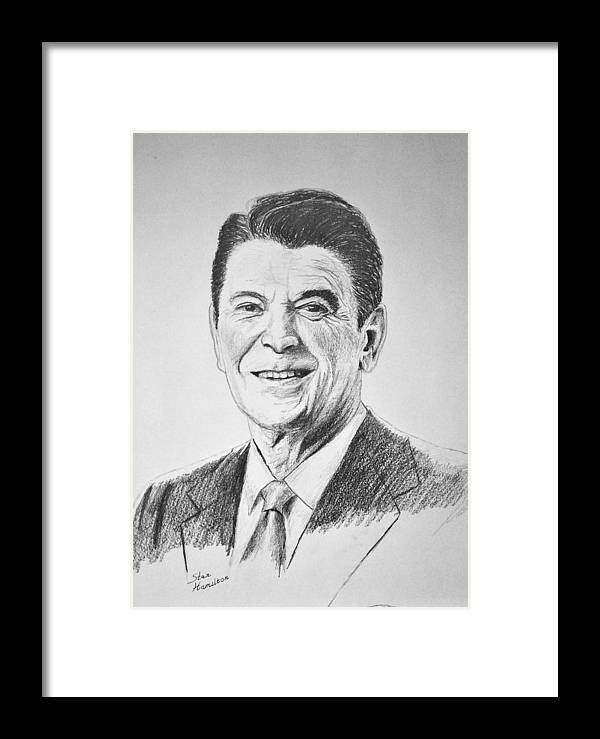 Pencil Framed Print featuring the drawing The Gipper by Stan Hamilton