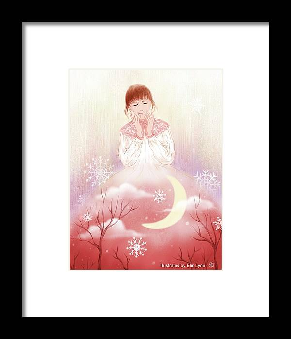Illustration Framed Print featuring the digital art The Girl In Meditation by Elin Lynn