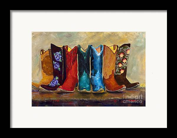 Cowboy Boots Framed Print featuring the painting The Girls Are Back In Town by Frances Marino