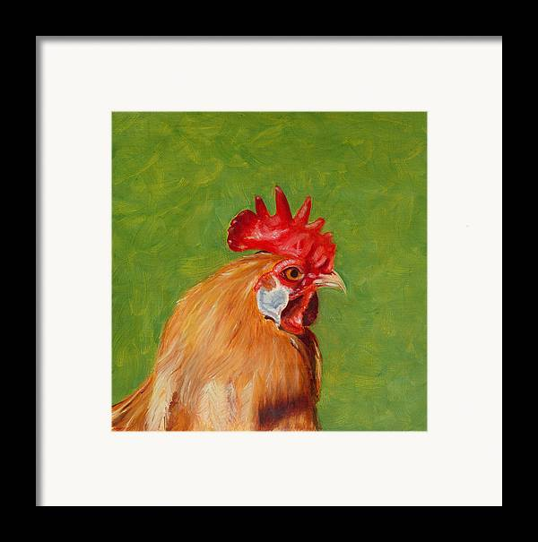 Rooster Framed Print featuring the painting The Gladiator by Paula Emery