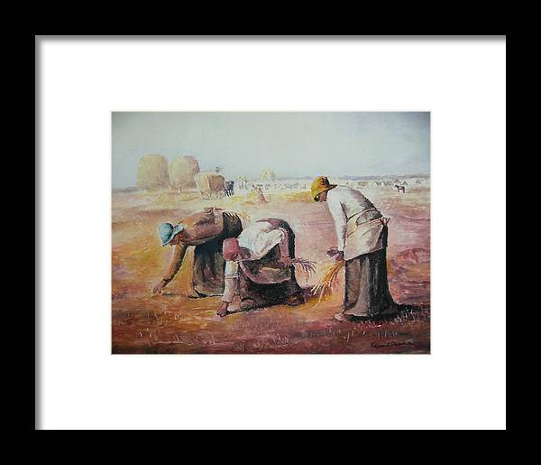 Gleaners Framed Print featuring the painting The Gleaners After Millet By My Dad by Anne-Elizabeth Whiteway