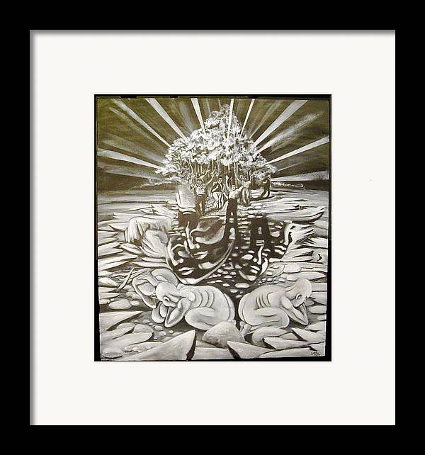 Surreal Framed Print featuring the painting The Gloaming by Stephen Barry