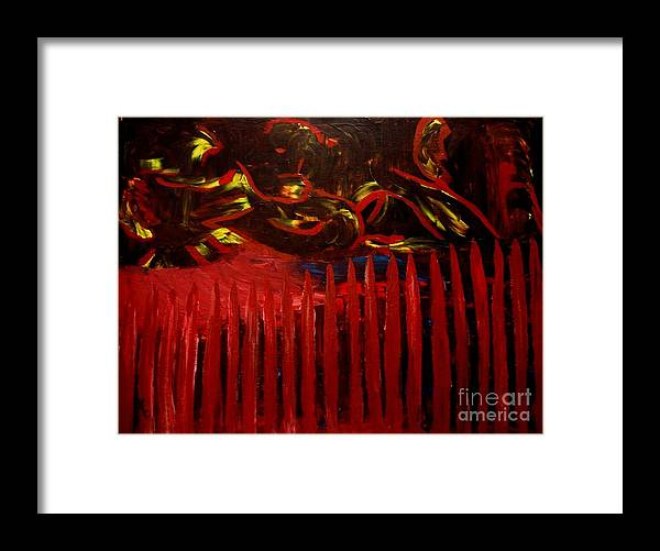 Barrier Framed Print featuring the painting The Goblins Outside by Karen L Christophersen