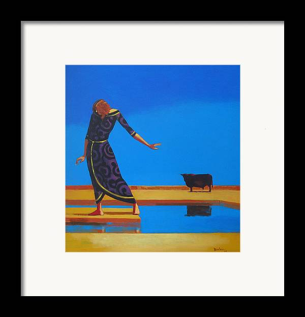 Figure Framed Print featuring the painting The Goddess And The Bull by Ihab Bishai