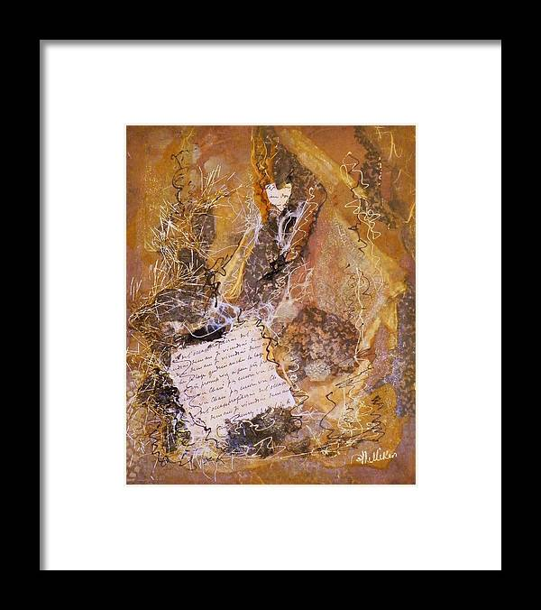 Mixed Media Framed Print featuring the painting The Golden Word by Tara Milliken