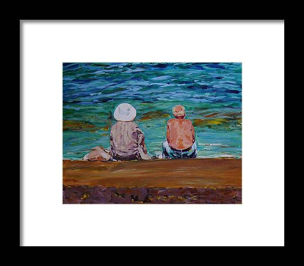 People Framed Print featuring the painting The Golden Years by Doranne Alden