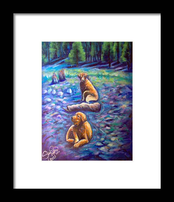 Animals Framed Print featuring the painting The Golden's by Steve Lawton