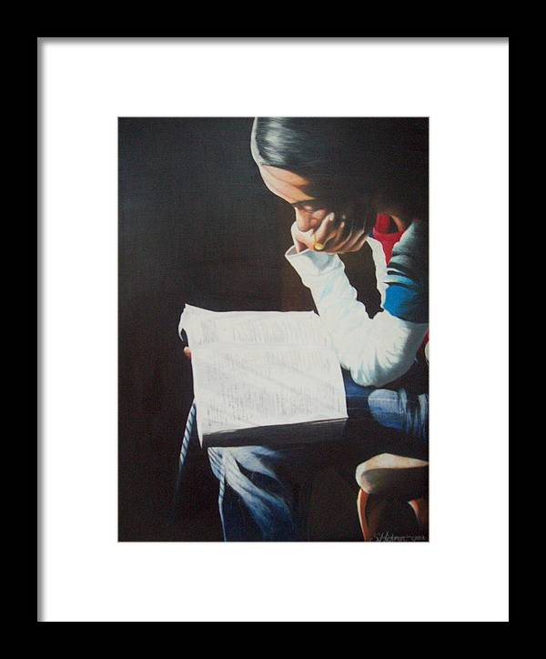 Figurative Framed Print featuring the drawing The Good Book by Sylvester Hickmon