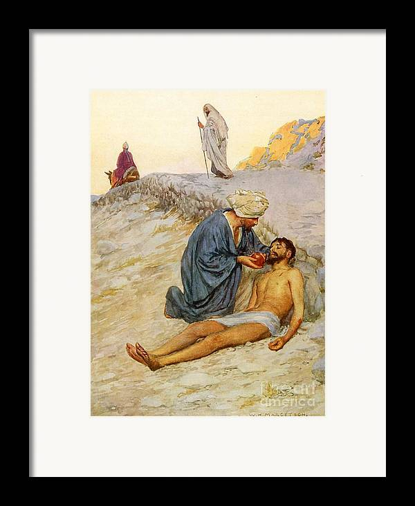 Bible Framed Print featuring the painting The Good Samaritan by William Henry Margetson