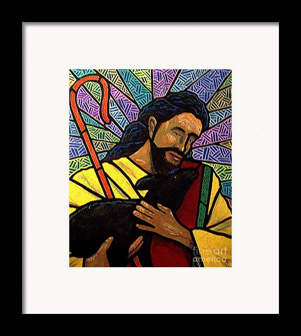 Jesus Framed Print featuring the painting The Good Shepherd - Practice Painting One by Jim Harris