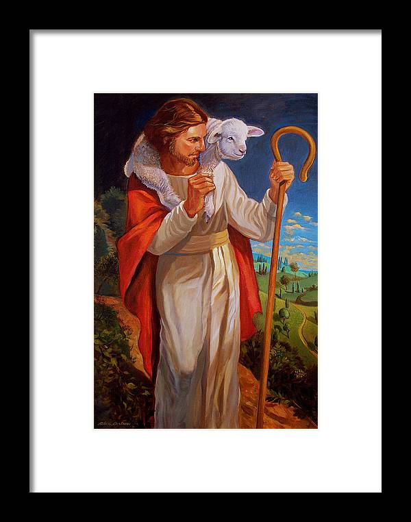 Jesus Painting As Shepherd With Lamb Framed Print featuring the painting The Good Shepherd by Alan Carlson