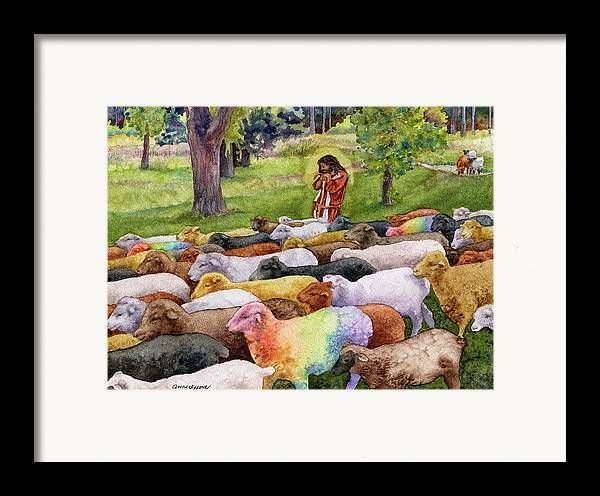 Jesus Painting Framed Print featuring the painting The Good Shepherd by Anne Gifford