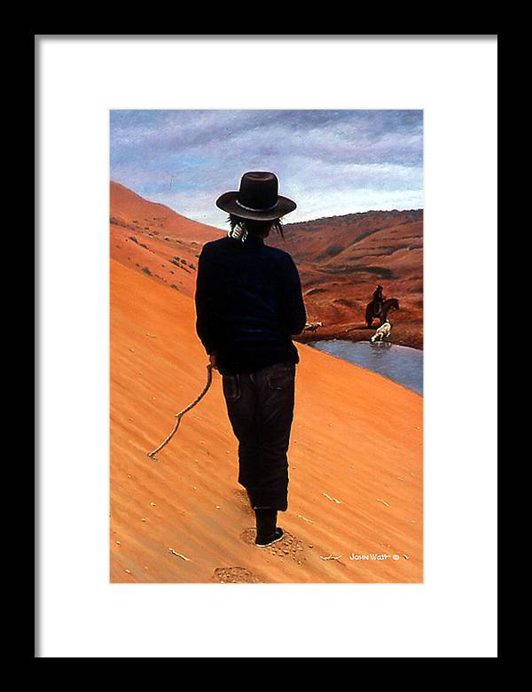 Navajo Indian Southwestern Monument Valley Framed Print featuring the painting The Good Shepherd by John Watt