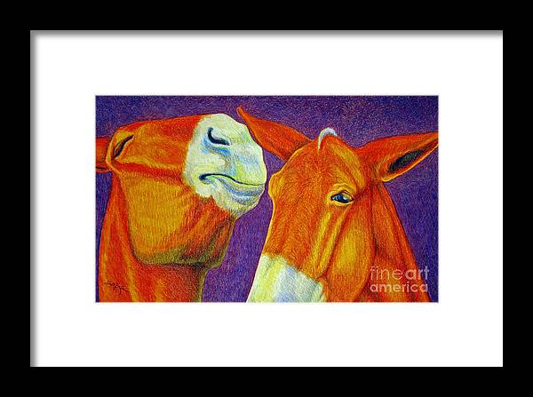 Color Pencil Framed Print featuring the drawing The Gossip by Suzanne McKee