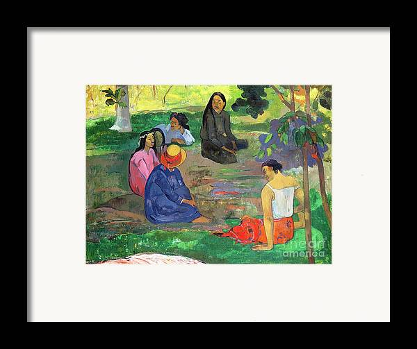 Hat; Post-impressionist; Tropical; Tahitian; Women; Sitting; Talking; Les Potins Framed Print featuring the painting The Gossipers by Paul Gauguin