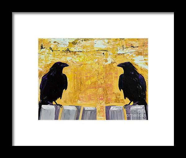 Abstract Realism Framed Print featuring the painting The Gossips by Pat Saunders-White