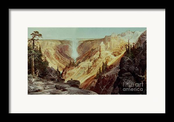 The Grand Canyon Of The Yellowstone Framed Print featuring the painting The Grand Canyon Of The Yellowstone by Thomas Moran