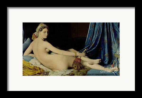The Framed Print featuring the painting The Grande Odalisque by Ingres