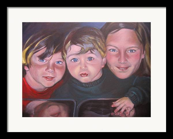 Children Portraits Framed Print featuring the painting The Grandkids by Kaytee Esser