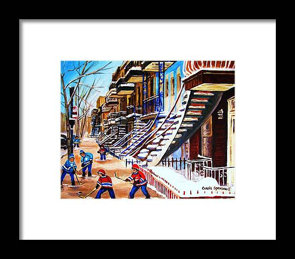 Hockey Framed Print featuring the painting The Gray Staircase by Carole Spandau