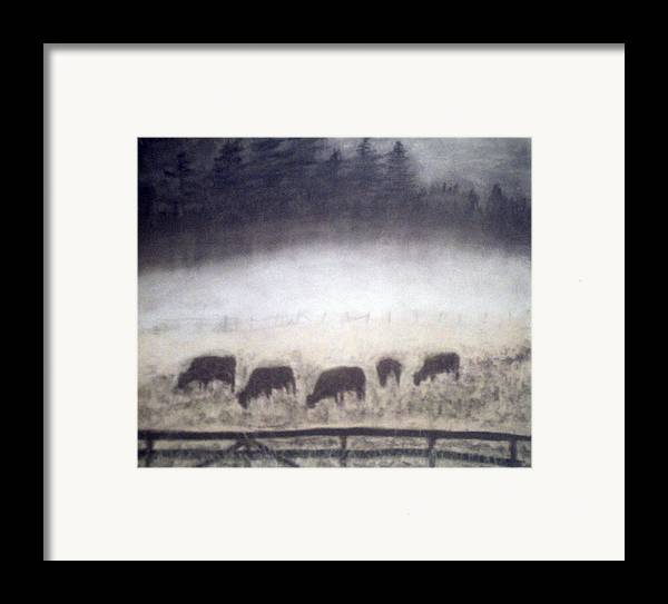 Landscape Framed Print featuring the painting The Grazers by Jack Spath
