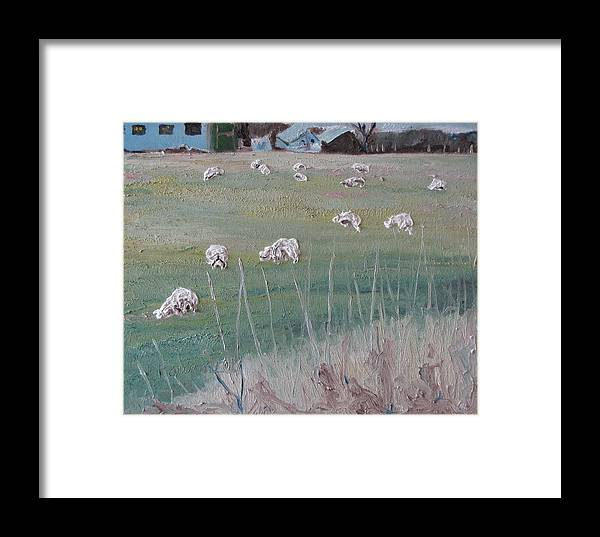 Fournier Framed Print featuring the painting The Grazing Sheep by Francois Fournier
