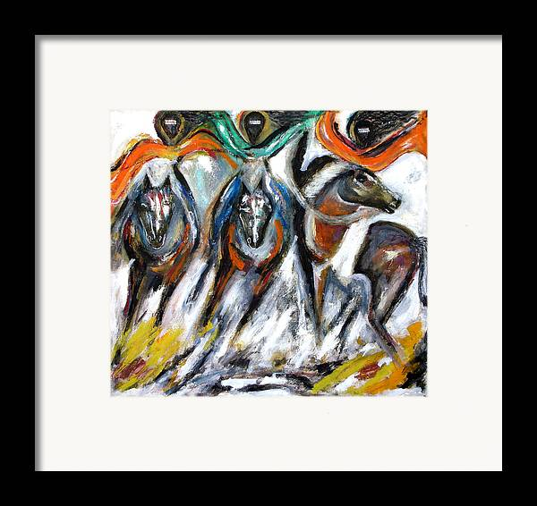 Horses Framed Print featuring the painting The Great Escape by Narayanan Ramachandran