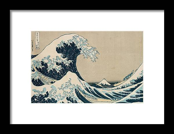 Wave Framed Print featuring the painting The Great Wave of Kanagawa by Hokusai