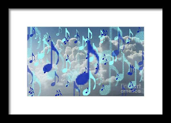 Framed Print featuring the digital art The Greater Clouds Of Witnesses We Love The Blues Too by Brenda L Spencer
