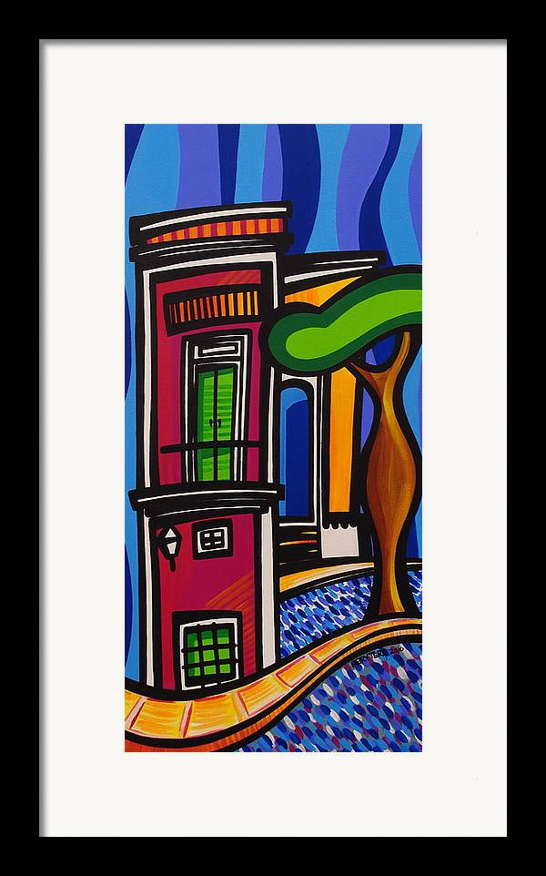 Puerto Rico Framed Print featuring the painting The Green Door by Mary Tere Perez