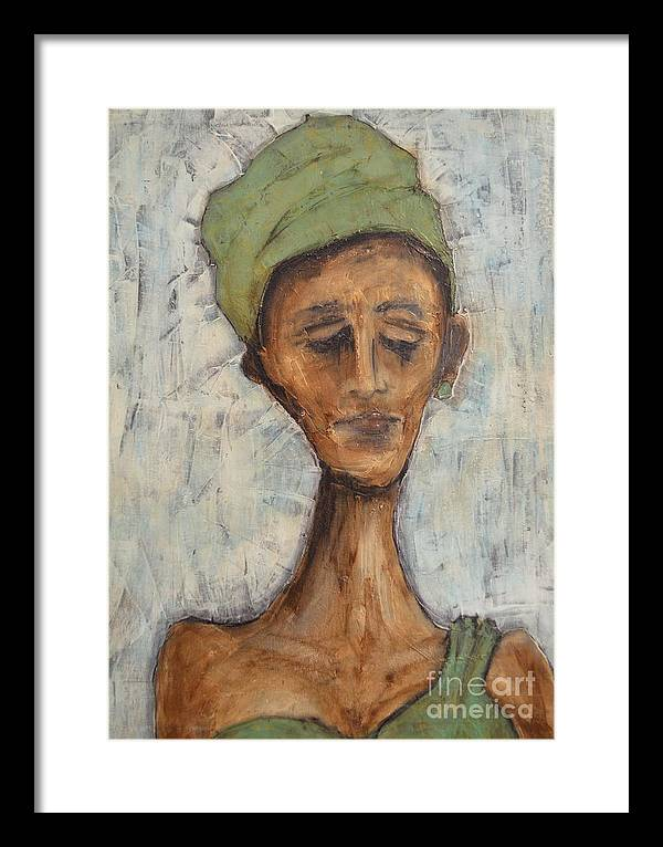 Woman Framed Print featuring the painting The Green Dress by Vincent Avila