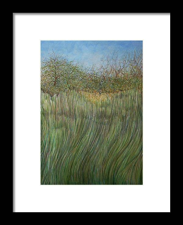 Landscape Framed Print featuring the painting The Green Field by Arkis Krayl