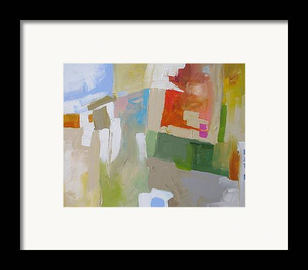 Abstract Framed Print featuring the painting The Green Flash by Linda Monfort
