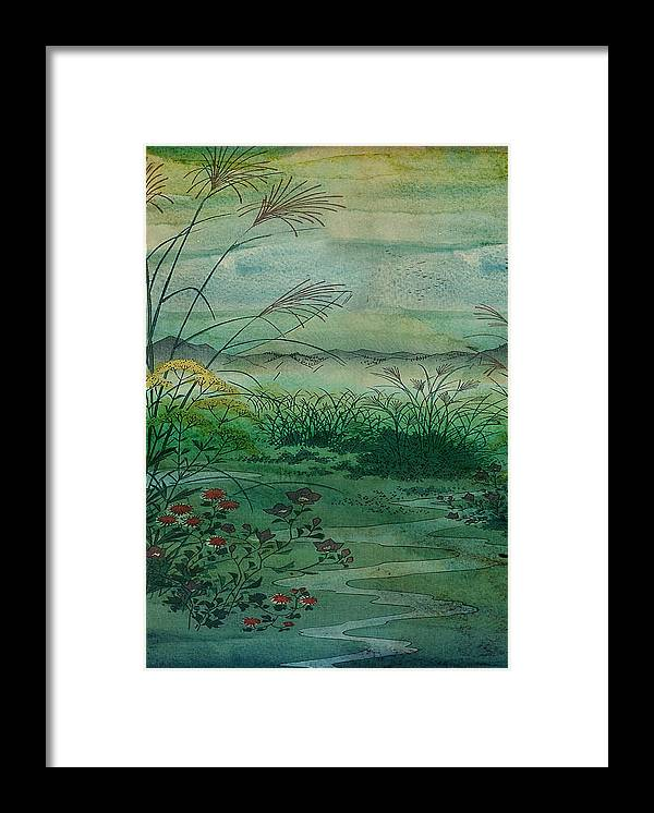 I Combined A Chinese Print From Library Of Congress At Flickr Ht Framed Print featuring the digital art The Green, Green Grass of Home by Sarah Vernon
