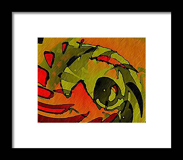 Green Framed Print featuring the digital art The Green Iguana by Terry Mulligan