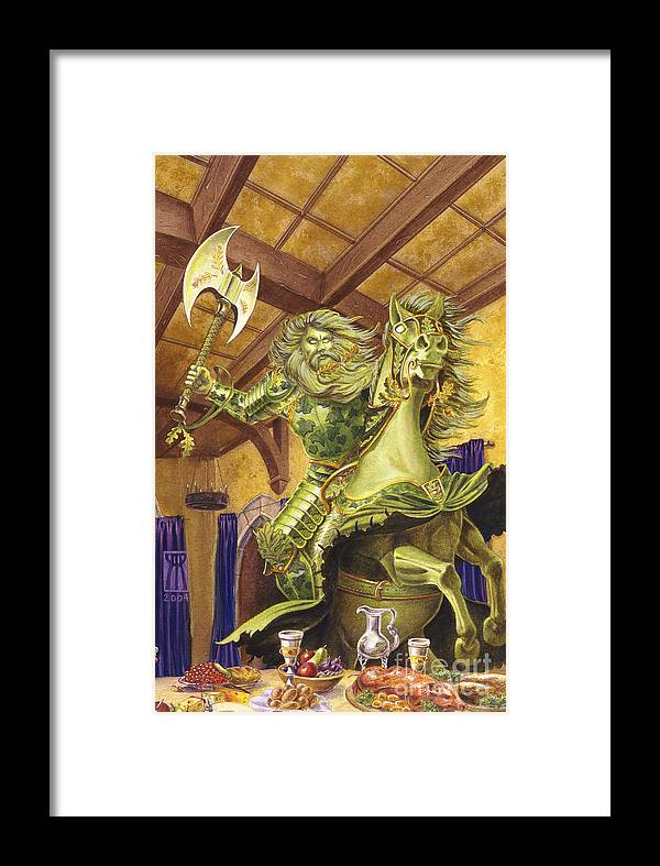 Fine Art Framed Print featuring the painting The Green Knight by Melissa A Benson
