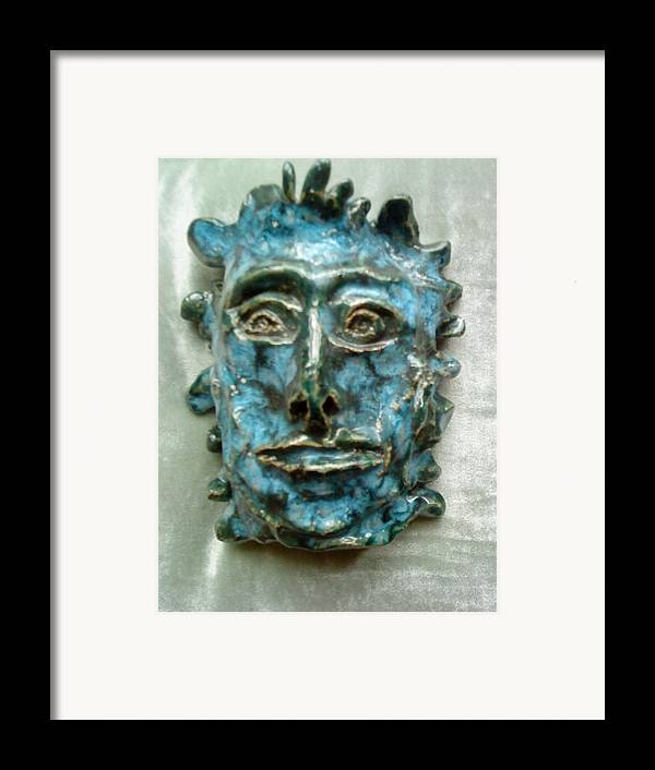 Green Man Framed Print featuring the ceramic art The Green Man by Paula Maybery