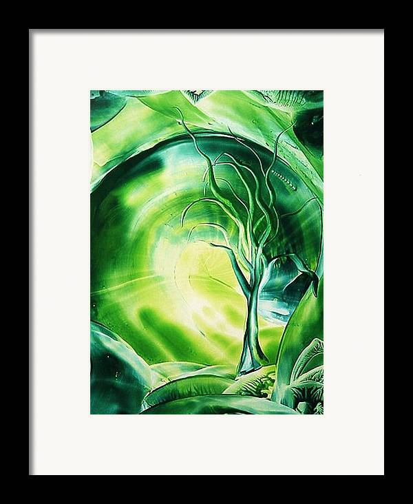 Encaustic Framed Print featuring the painting The Green Scenery by Marketa Cejkova