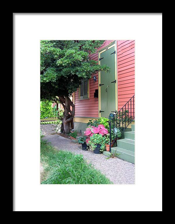 Building Framed Print featuring the pyrography The Green Shutters by Myrna Salaun