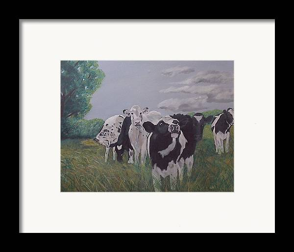 Cows Framed Print featuring the painting The Greeter by Robert Tower
