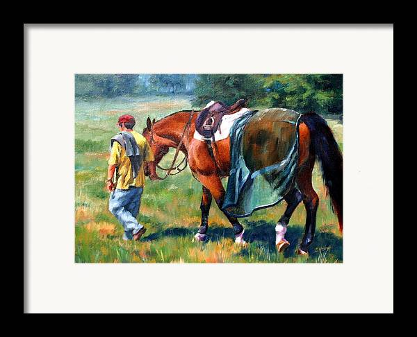 Equine Paintings Framed Print featuring the painting The Groom by Elaine Hurst