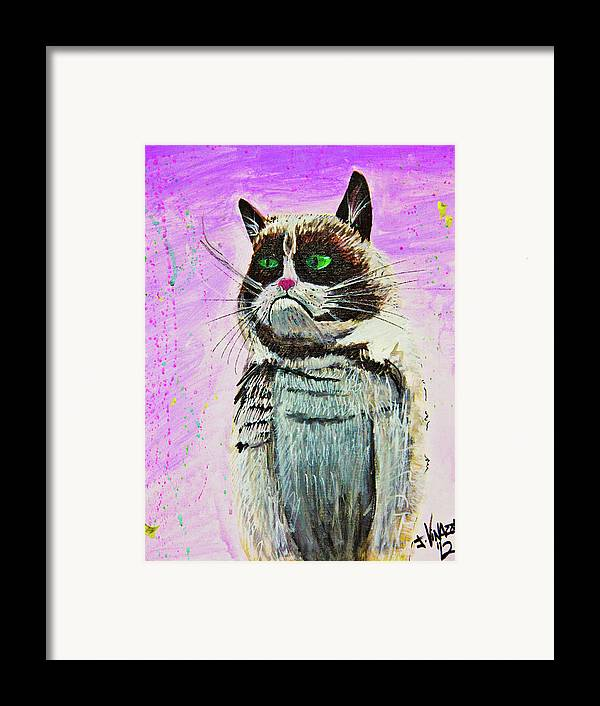 Grumpy Cat Framed Print featuring the painting The Grumpy Cat From The Internets by eVol i
